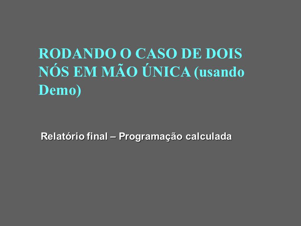 RODANDO O CASO DE DOIS NÓS EM MÃO ÚNICA (usando Demo)