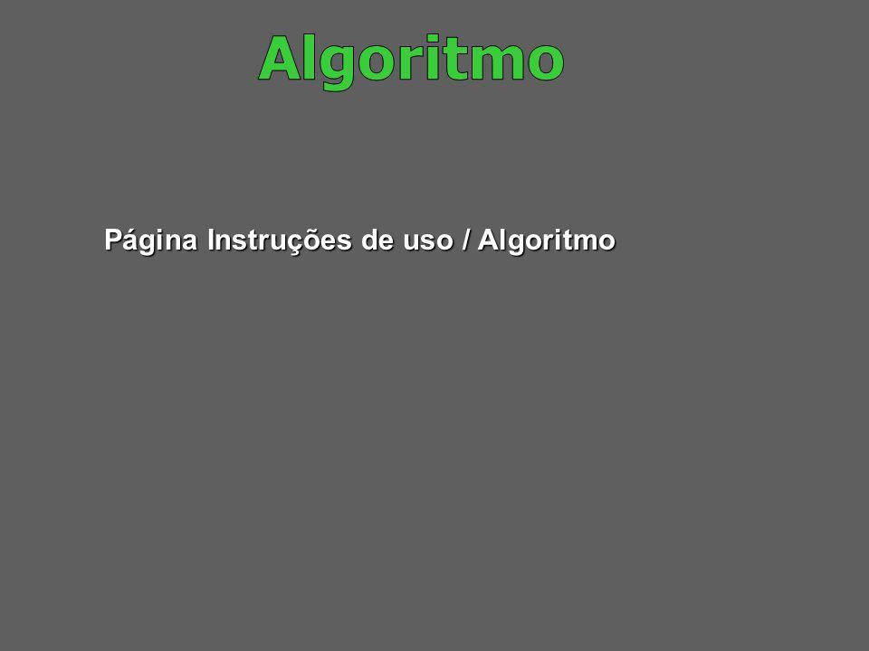 Algoritmo Página Instruções de uso / Algoritmo