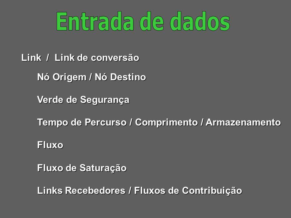 Entrada de dados Link / Link de conversão Nó Origem / Nó Destino