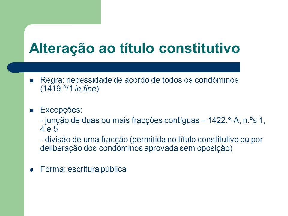Alteração ao título constitutivo