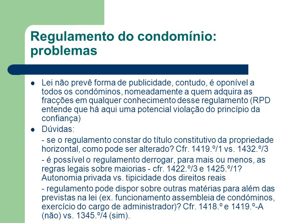 Regulamento do condomínio: problemas