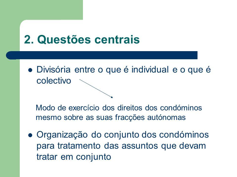 2. Questões centrais Divisória entre o que é individual e o que é colectivo.