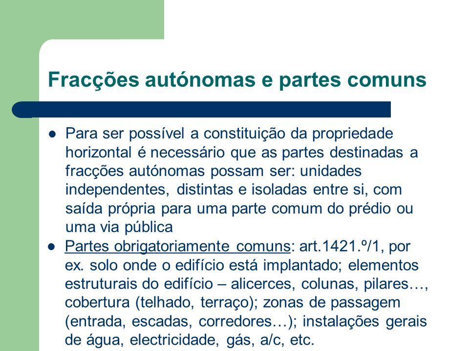 Fracções autónomas e partes comuns