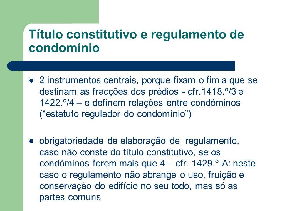 Título constitutivo e regulamento de condomínio