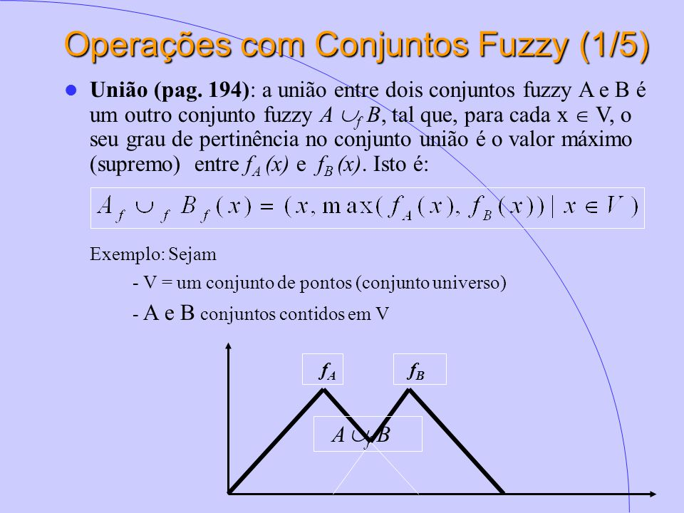 Operações com Conjuntos Fuzzy (1/5)