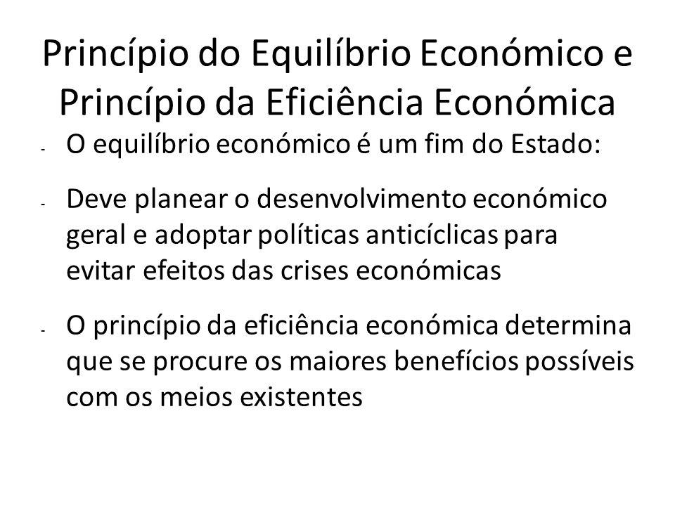 Princípio do Equilíbrio Económico e Princípio da Eficiência Económica