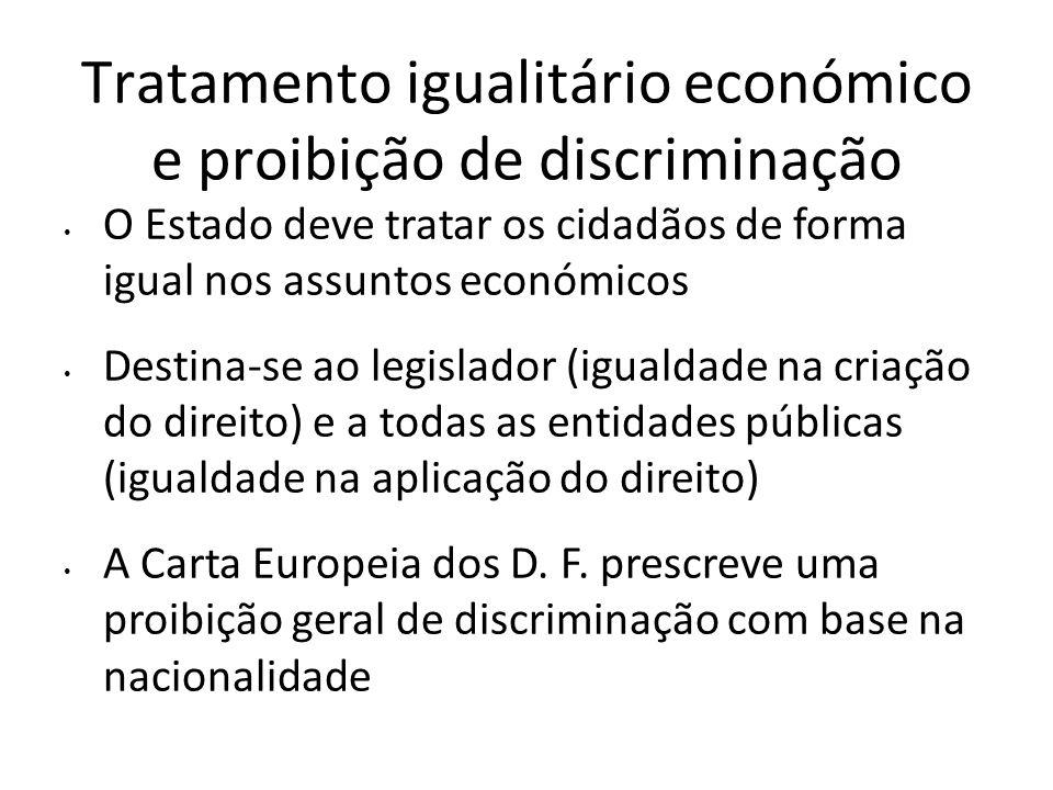 Tratamento igualitário económico e proibição de discriminação