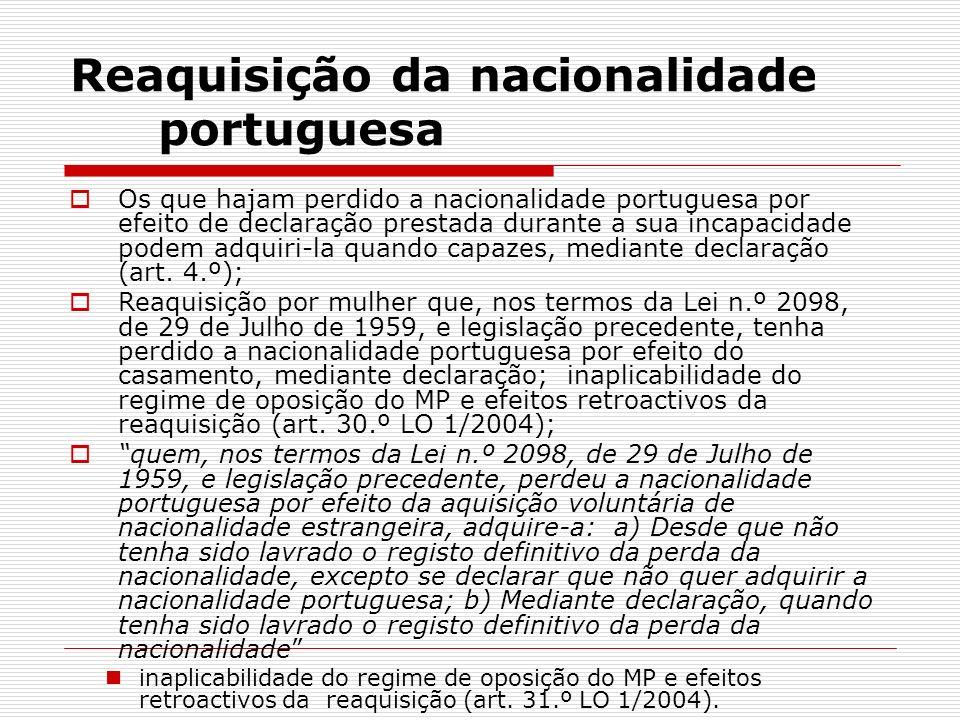 Reaquisição da nacionalidade portuguesa