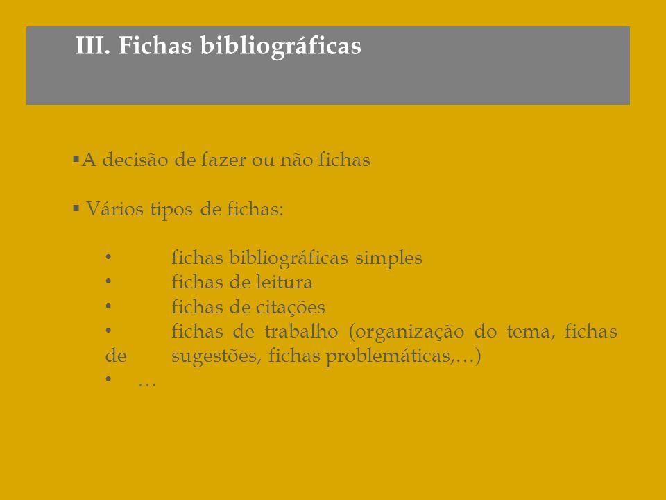 III. Fichas bibliográficas