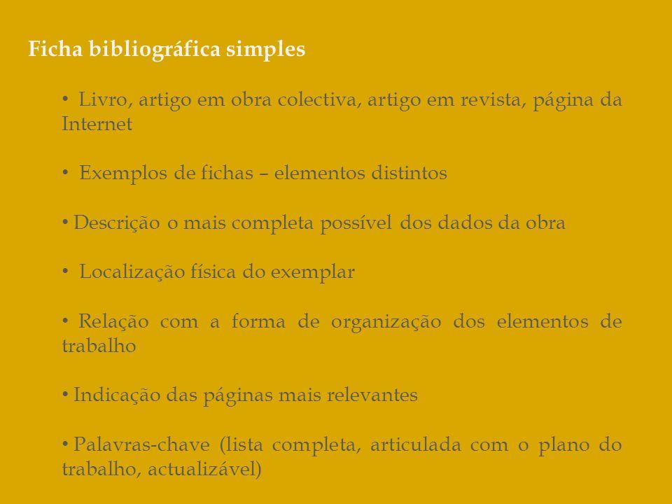 Ficha bibliográfica simples
