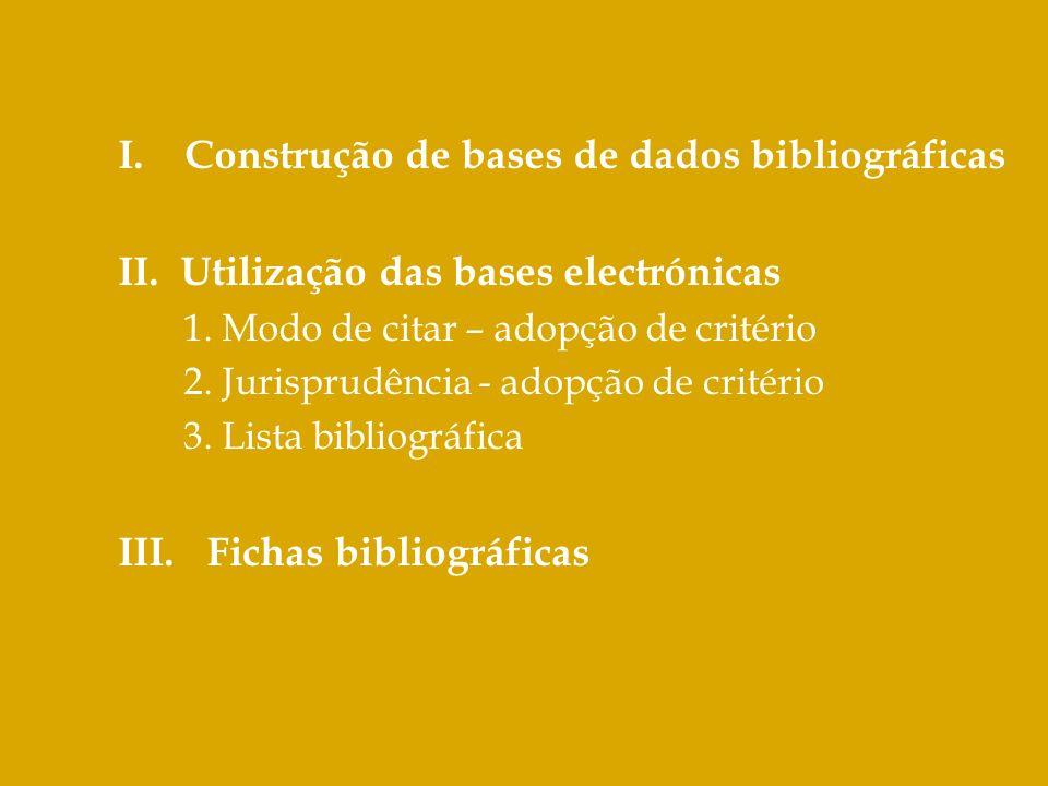 I. Construção de bases de dados bibliográficas