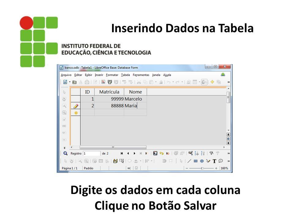 Inserindo Dados na Tabela Digite os dados em cada coluna