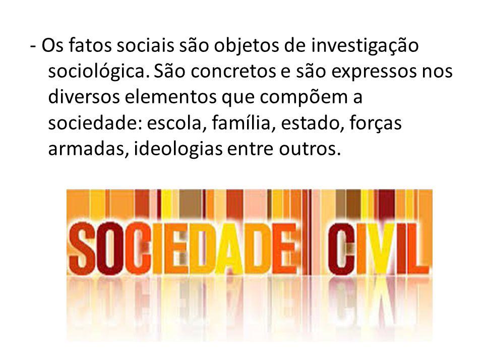 - Os fatos sociais são objetos de investigação sociológica