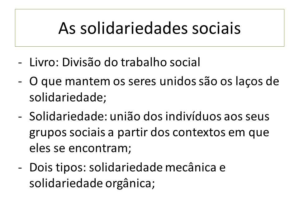 As solidariedades sociais