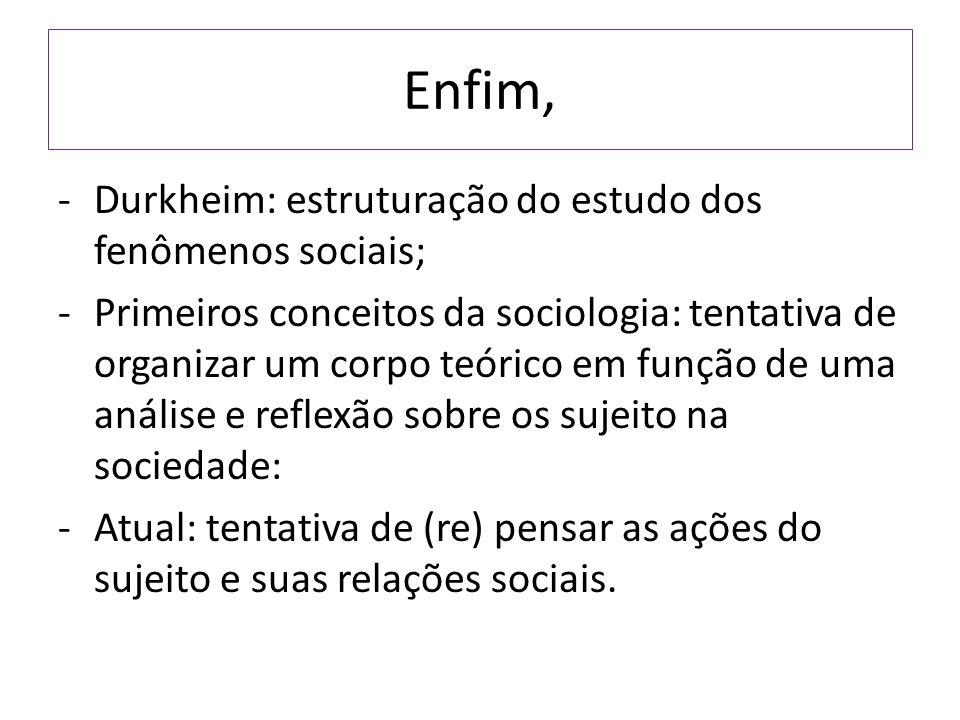 Enfim, Durkheim: estruturação do estudo dos fenômenos sociais;