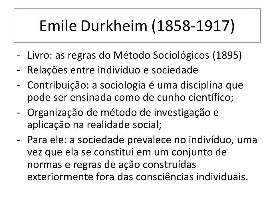 Emile Durkheim (1858-1917) Livro: as regras do Método Sociológicos (1895) Relações entre indivíduo e sociedade.