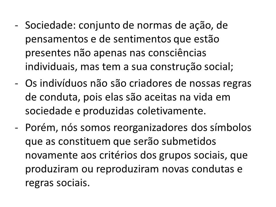 Sociedade: conjunto de normas de ação, de pensamentos e de sentimentos que estão presentes não apenas nas consciências individuais, mas tem a sua construção social;