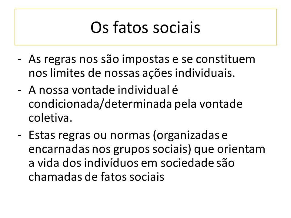 Os fatos sociais As regras nos são impostas e se constituem nos limites de nossas ações individuais.