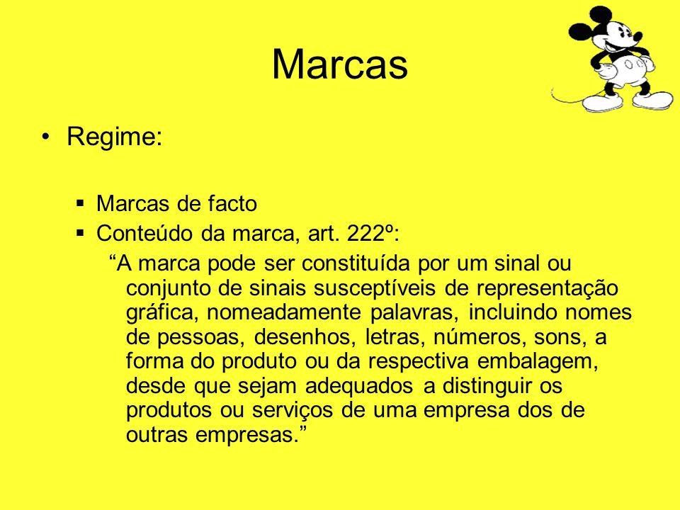Marcas Regime: Marcas de facto Conteúdo da marca, art. 222º: