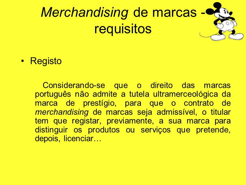 Merchandising de marcas - requisitos