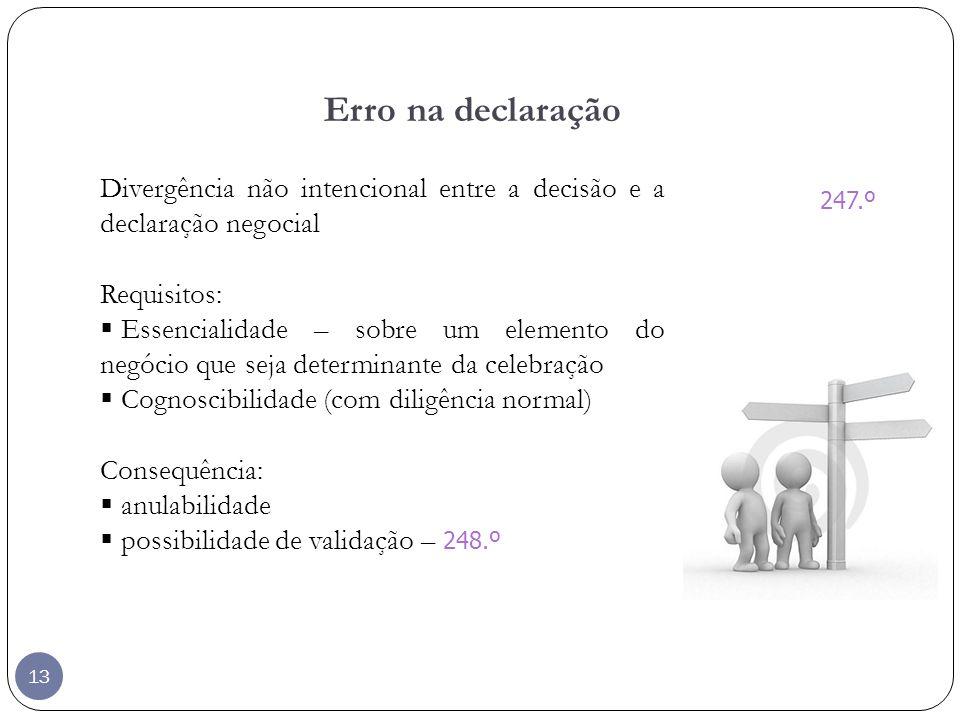 Erro na declaração Divergência não intencional entre a decisão e a declaração negocial. Requisitos: