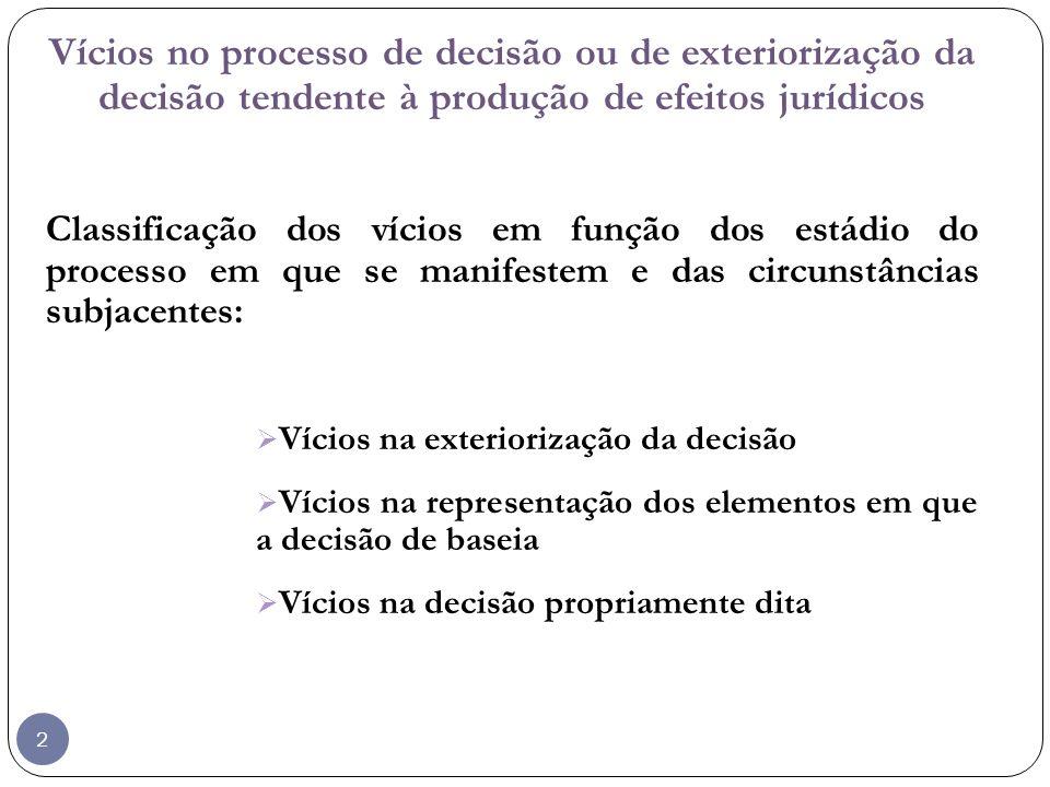 Vícios no processo de decisão ou de exteriorização da decisão tendente à produção de efeitos jurídicos