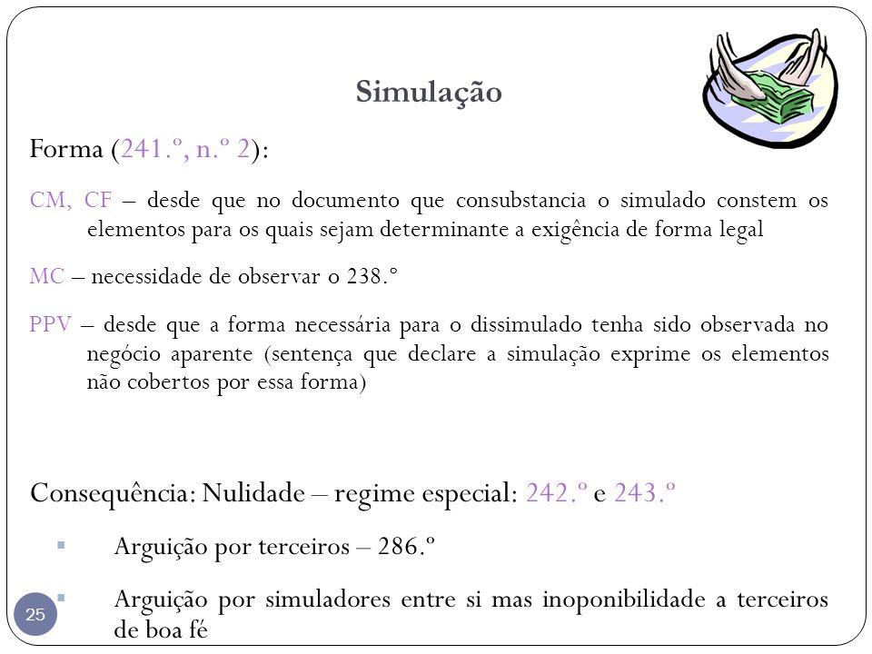 Simulação Forma (241.º, n.º 2):