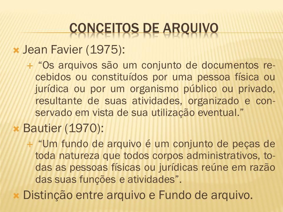 Conceitos de Arquivo Jean Favier (1975): Bautier (1970):
