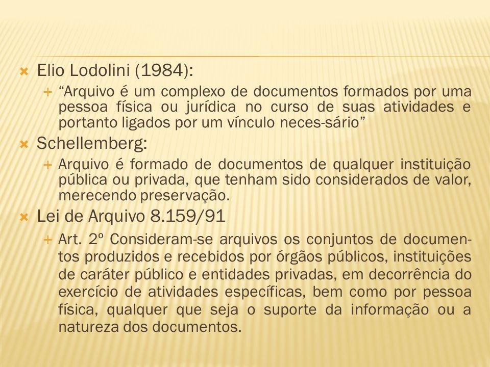 Elio Lodolini (1984): Schellemberg: Lei de Arquivo 8.159/91