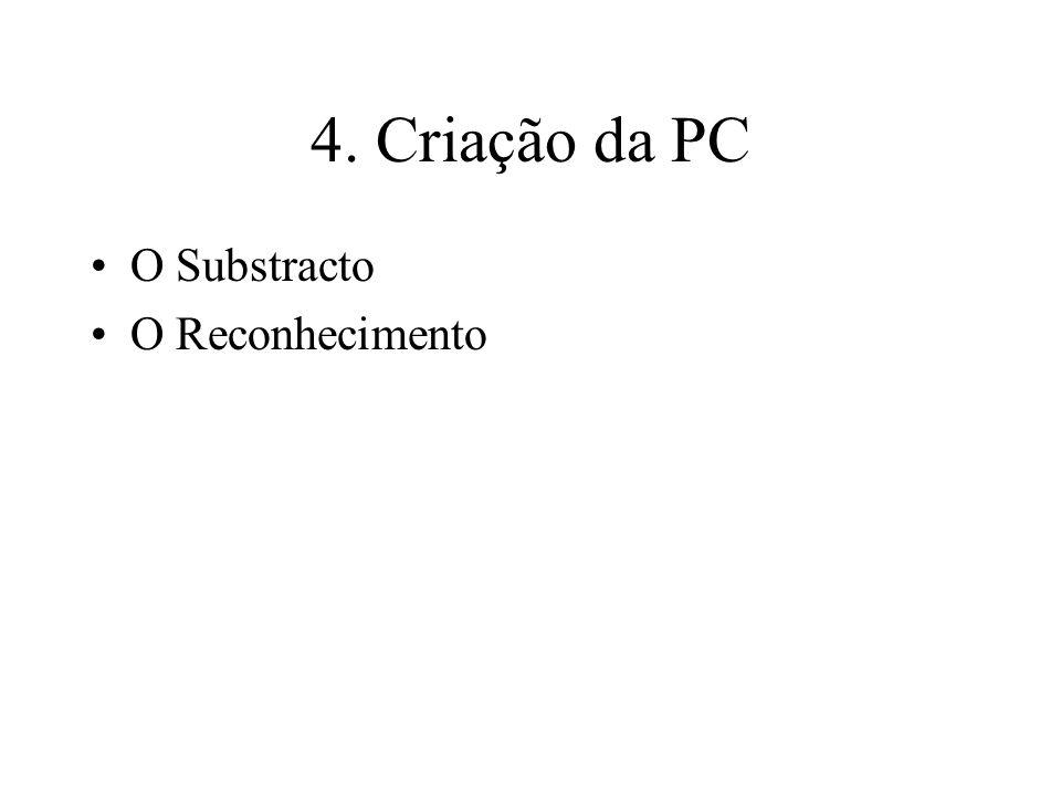 4. Criação da PC O Substracto O Reconhecimento
