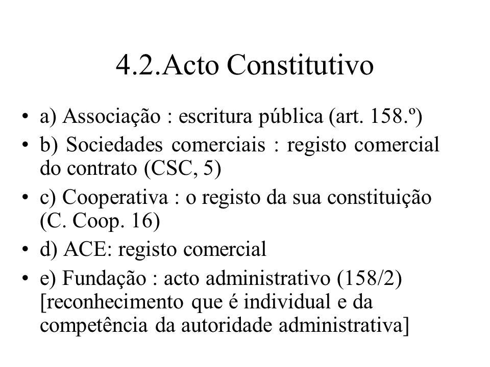 4.2.Acto Constitutivo a) Associação : escritura pública (art. 158.º)