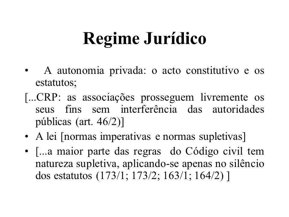 Regime Jurídico A autonomia privada: o acto constitutivo e os estatutos;