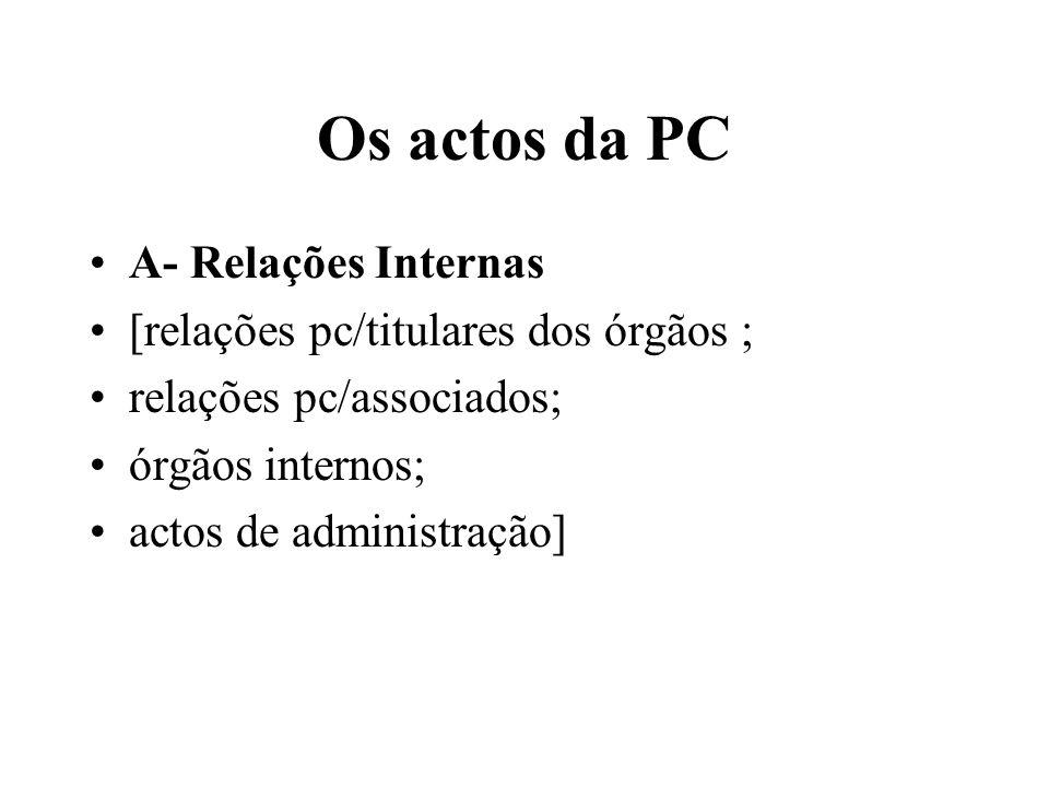 Os actos da PC A- Relações Internas