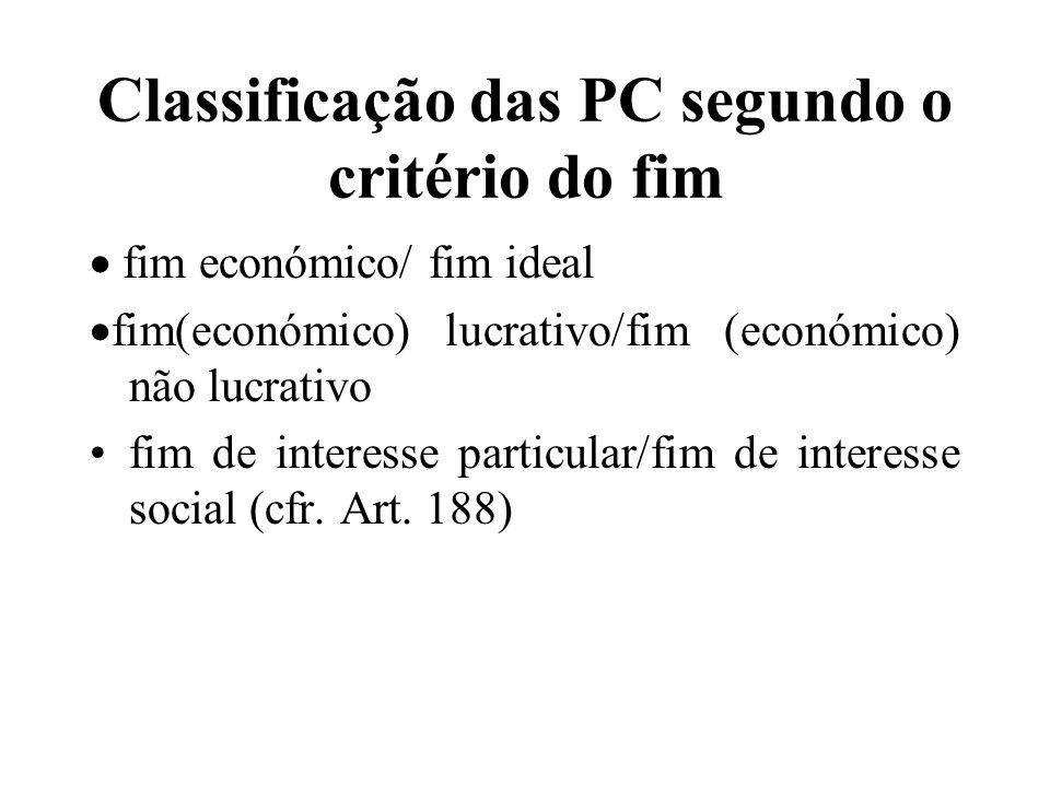 Classificação das PC segundo o critério do fim