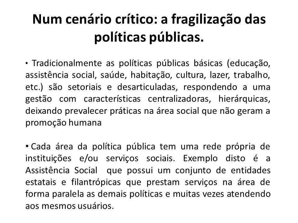 Num cenário crítico: a fragilização das políticas públicas.