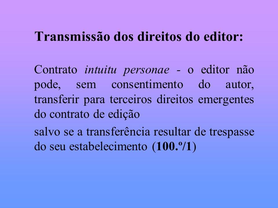 Transmissão dos direitos do editor: