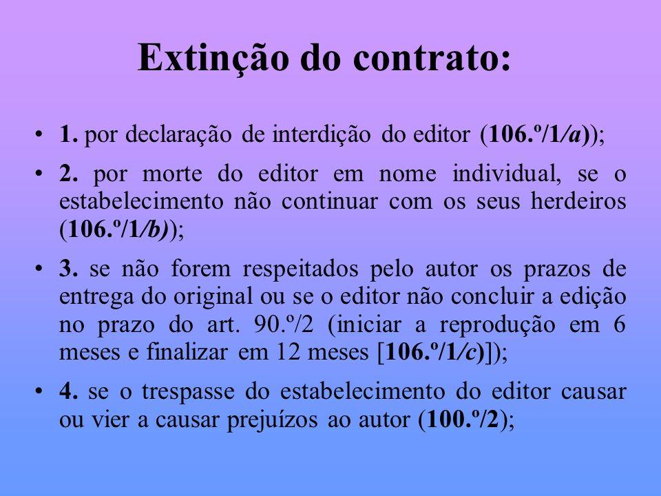 Extinção do contrato:1. por declaração de interdição do editor (106.º/1/a));