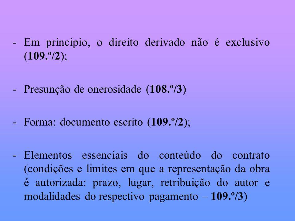 Em princípio, o direito derivado não é exclusivo (109.º/2);