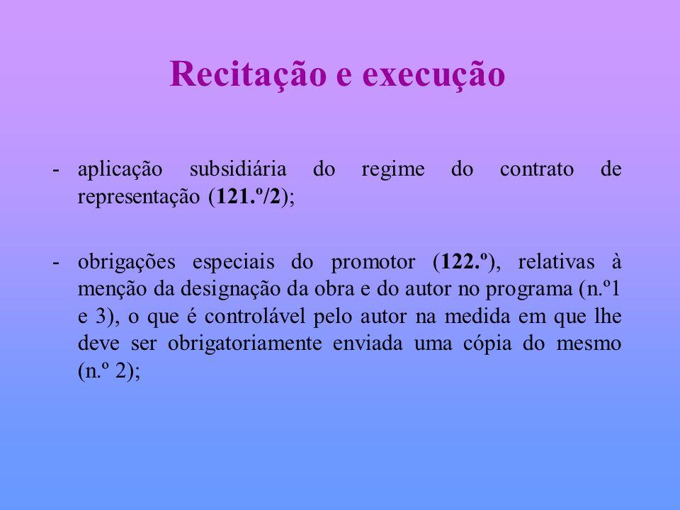 Recitação e execução aplicação subsidiária do regime do contrato de representação (121.º/2);
