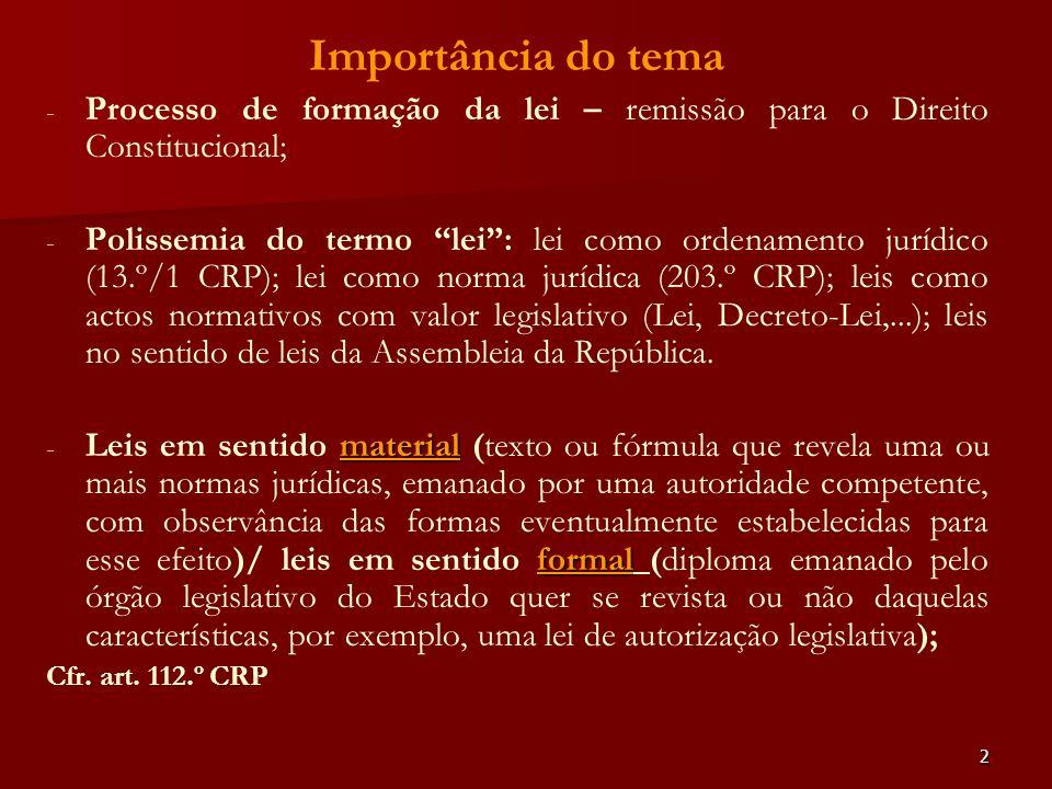 Importância do temaProcesso de formação da lei – remissão para o Direito Constitucional;