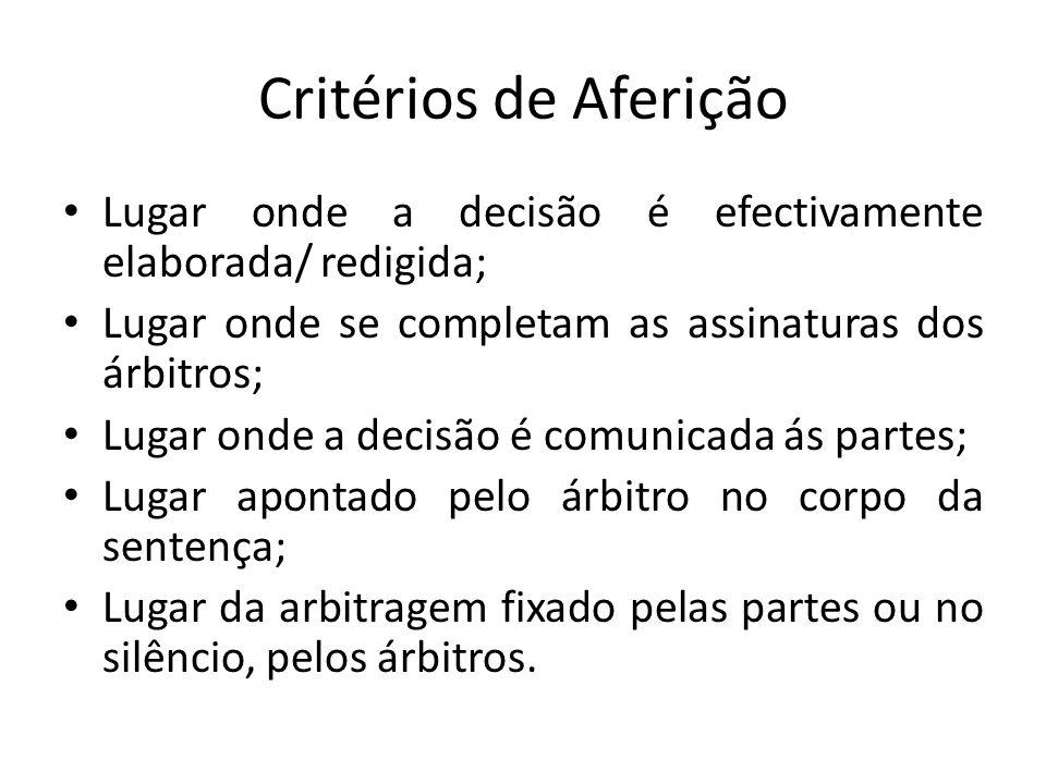 Critérios de Aferição Lugar onde a decisão é efectivamente elaborada/ redigida; Lugar onde se completam as assinaturas dos árbitros;
