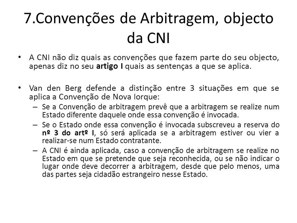7.Convenções de Arbitragem, objecto da CNI