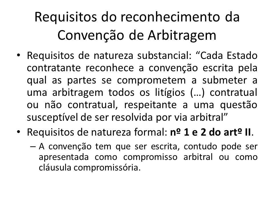 Requisitos do reconhecimento da Convenção de Arbitragem