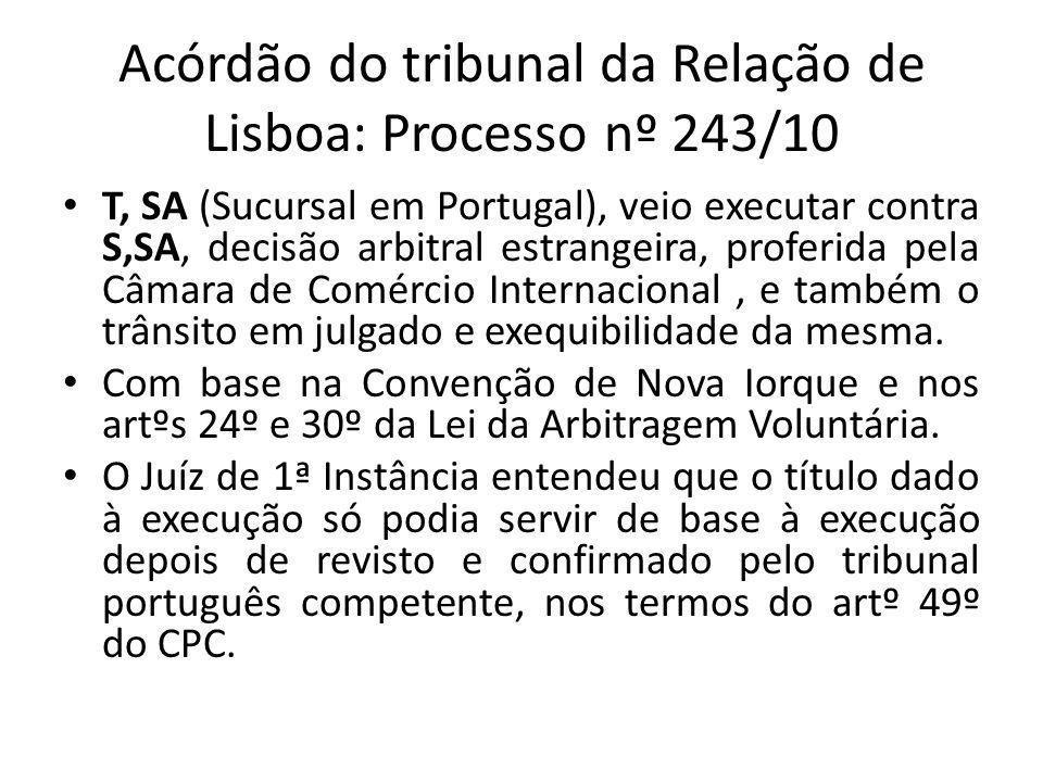 Acórdão do tribunal da Relação de Lisboa: Processo nº 243/10