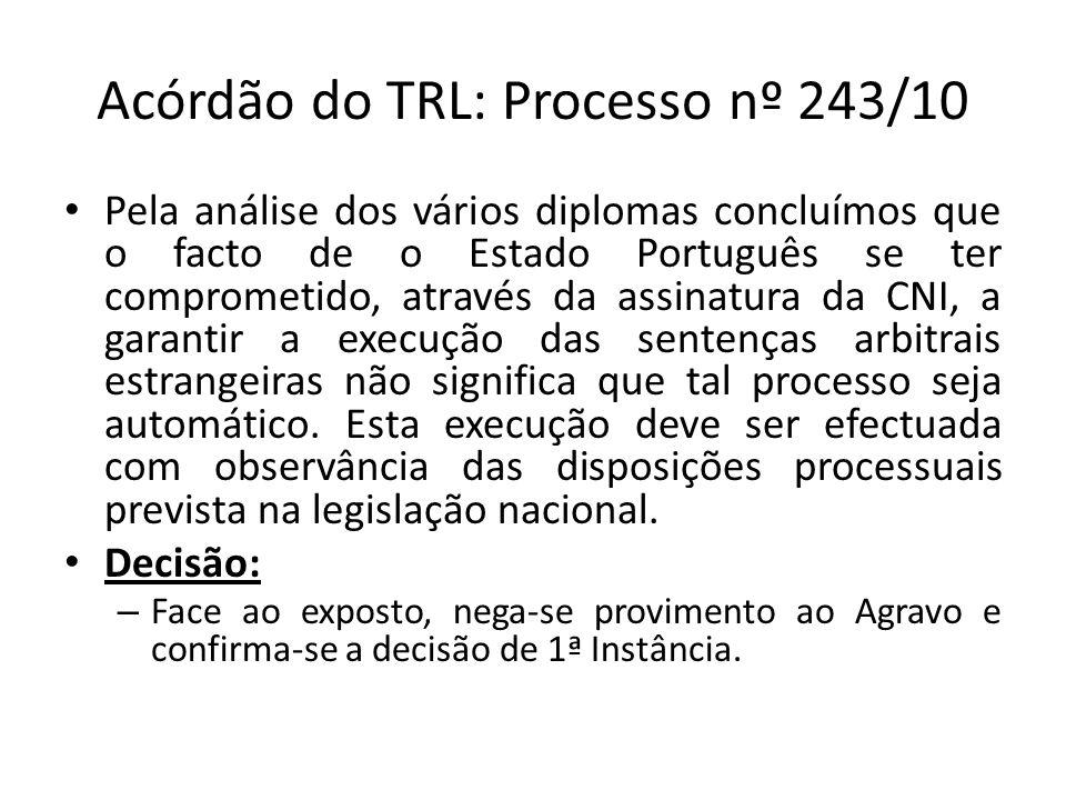 Acórdão do TRL: Processo nº 243/10