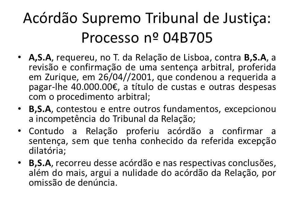 Acórdão Supremo Tribunal de Justiça: Processo nº 04B705