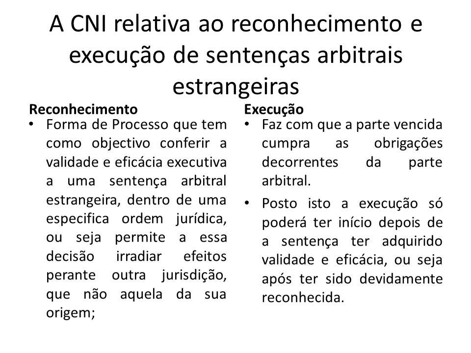 A CNI relativa ao reconhecimento e execução de sentenças arbitrais estrangeiras