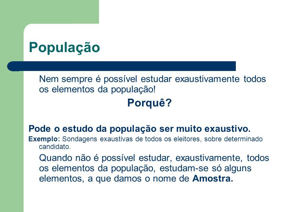 População Porquê Pode o estudo da população ser muito exaustivo.