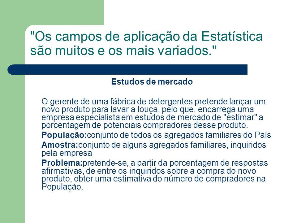 Os campos de aplicação da Estatística são muitos e os mais variados.