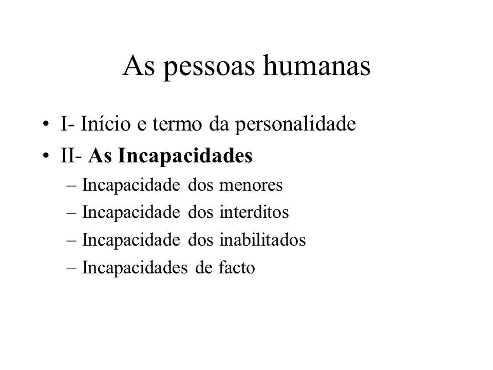 As pessoas humanas I- Início e termo da personalidade